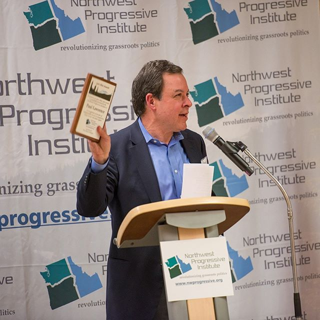Countdown to NPI's 2018 Spring Fundraising Gala | From 2017: Attorney Paul Lawrence accepts his Lynn Allen Award (Photo by Lincoln Potter). Join us this Saturday and be part of our tenth gala: https://npi.li/gala/