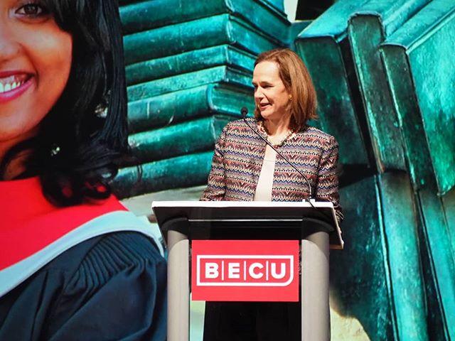 Incoming @BECU Board Chair Susan Ehrlich addresses the 2018 Member Summit #WeAreBECU