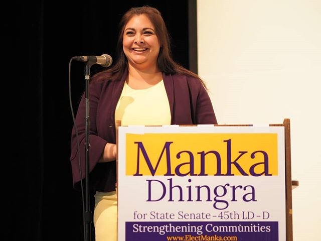 State Senator Manka Dhingra speaks at her 2018 reelection kickoff in Redmond