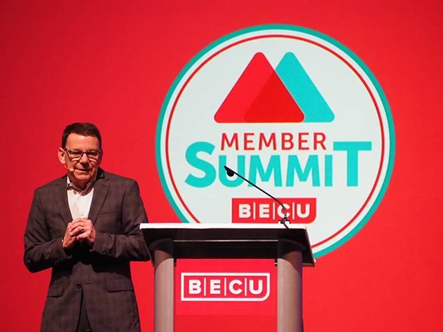 @BECU Board Chair David Yonce welcomes attendees to the Member Summit #WeAreBECU