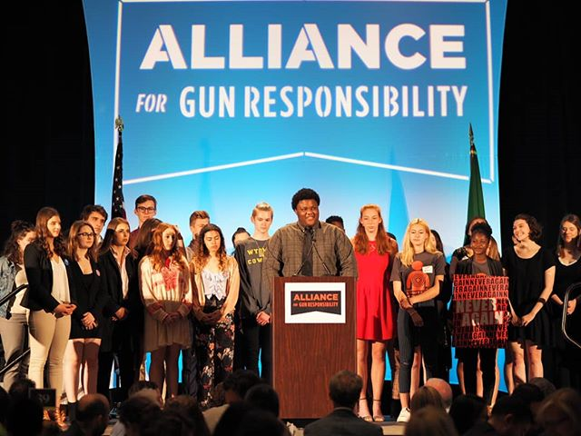 Young people were the featured speakers at today's fifth annual luncheon for the Washington Alliance for Gun Responsibility