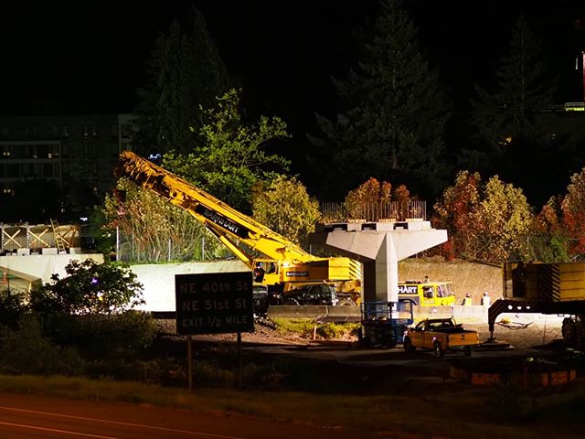 East Link night construction work at NE 148th Avenue