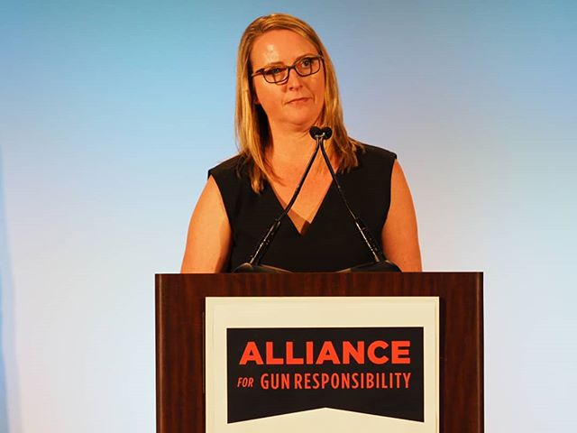 Alliance for Gun Responsibility CEO Renee Hopkins speaks at the organization's fifth annual luncheon