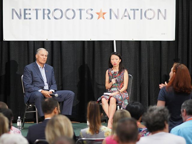 Scenes from #NN18: Washington's own Governor Jay Inslee takes a question from the audience at his featured panel discussion on resisting Trump in the states
