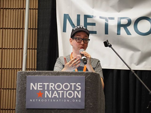 Scenes from #NN18: Debra Cleaver of Vote.org leads a training on voter registration and get out the vote strategies
