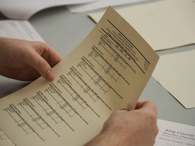 Inside King County Elections: After test ballots have been scanned and tabulated during a Logic & Accuracy Test, the results are checked by staff and observers to confirm accuracy