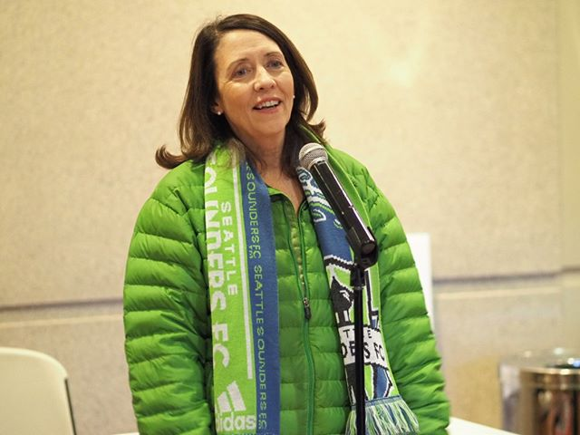 Senator Maria Cantwell speaks at a Get Out The Vote rally following the Sounders' weekend victory over the San Jose Earthquakes