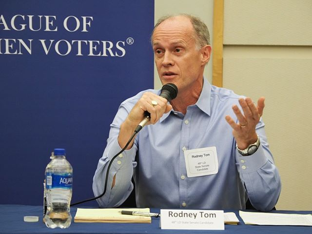 Party switcher Rodney Tom argued at a recent candidate forum that he's the best fit for the 48th District in the Washington State Senate... even though it rejected his candidacy in the August Top Two election