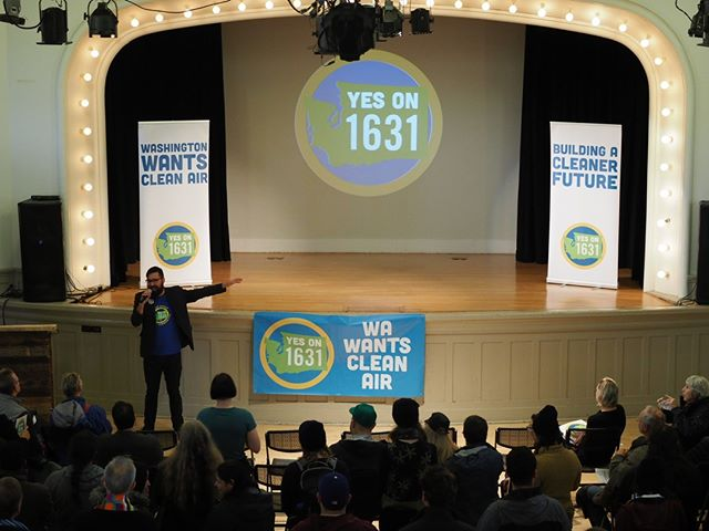 Ahmed Gaya rallies grassroots activists to sprint to the finish for Initiative 1631, the groundbreaking plan to put a price on pollution in Washington