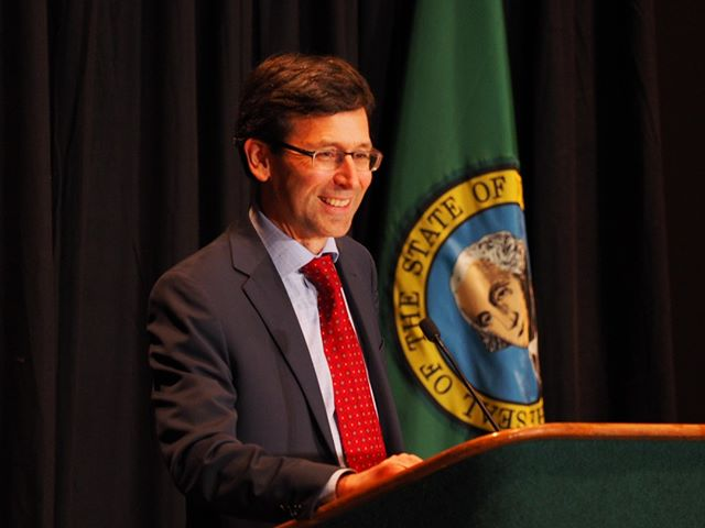 Washington State Attorney General Bob Ferguson addresses supporters at his end of the year fundraiser (Photo: Andrew Villeneuve/NPI)