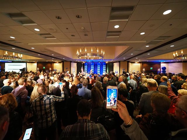 Flashback to General Election Night 2018: A massive crowd takes in Kim Schrier's victory speech (Photo: Andrew Villeneuve/NPI)