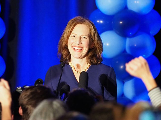 Flashback to General Election Night 2018: Kim Schrier's victory speech was the highlight of the night for attendees of the Washington State Democratic Party's victory event in Bellevue (Photo: Andrew Villeneuve/NPI)