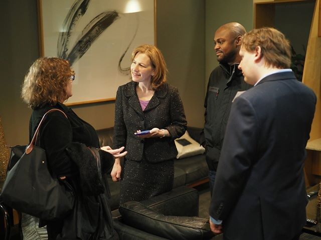 Scenes from NPI's 2018 Winter Holiday Party: Washington's newest member of Congress, Dr. Kim Schrier, catches up with NPI supporters