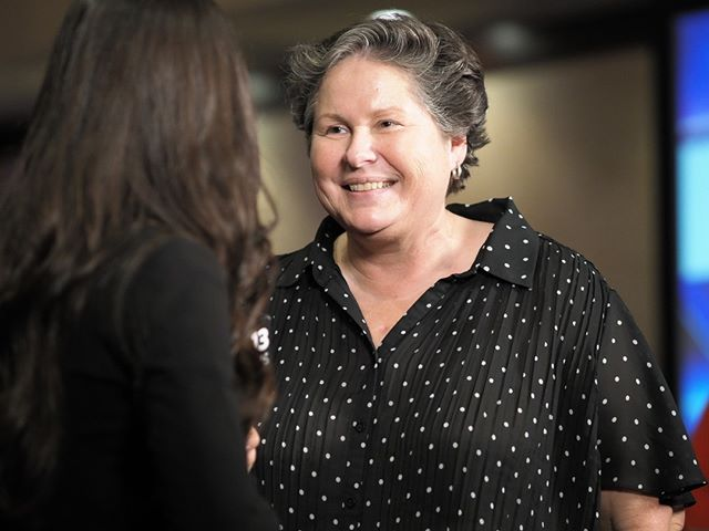 Flashback to General Election Night 2018: Washington State Democratic Party Chair Tina Podlodowski talks to Q13 Fox about the blue wave (Photo: Andrew Villeneuve/NPI)