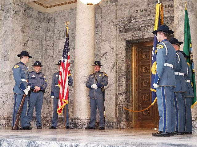 Scenes from the first day of the 2019 Legislative Session in Olympia: The State Patrol color guard prepares for its ceremonial opening duties