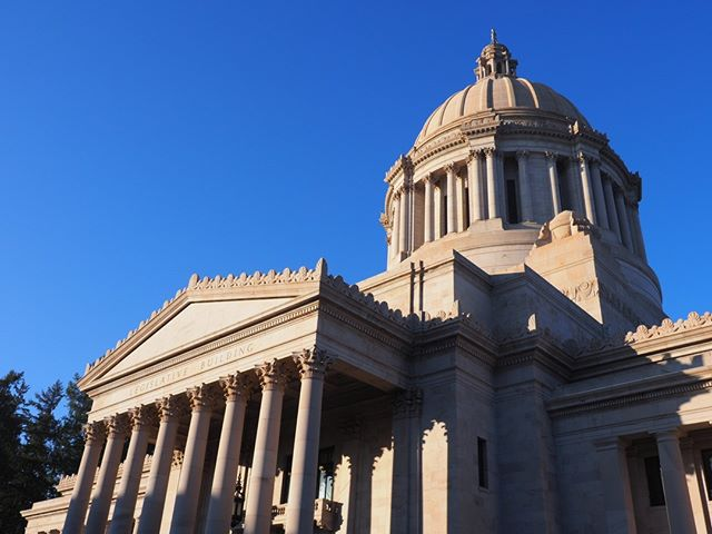 Scenes from the first day of the 2019 Legislative Session in Olympia: The sun shone on the Legislative Building during a break from the fog