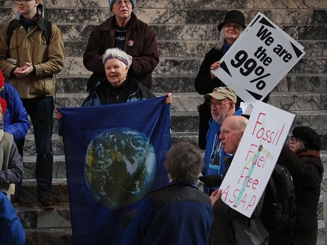 Scenes from the first day of the 2019 Legislative Session in Olympia: Activists rally for a Green New Deal in the Rotunda