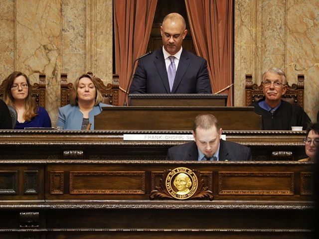 Scenes from the first day of the 2019 Legislative Session: The Chief Clerk of the House (Bernard Dean) presides from the rostrum prior to the election of the Speaker