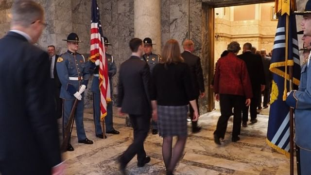 There they go! New and returning members of Washington's State House of Representatives enter the Chamber to begin the 2019 Session