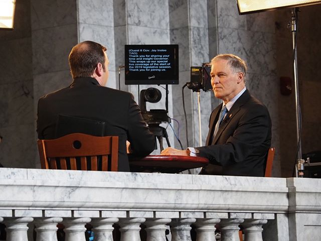 Scenes from the first day of the 2019 Legislative Session in Olympia: Governor Inslee tapes an interview with TVW