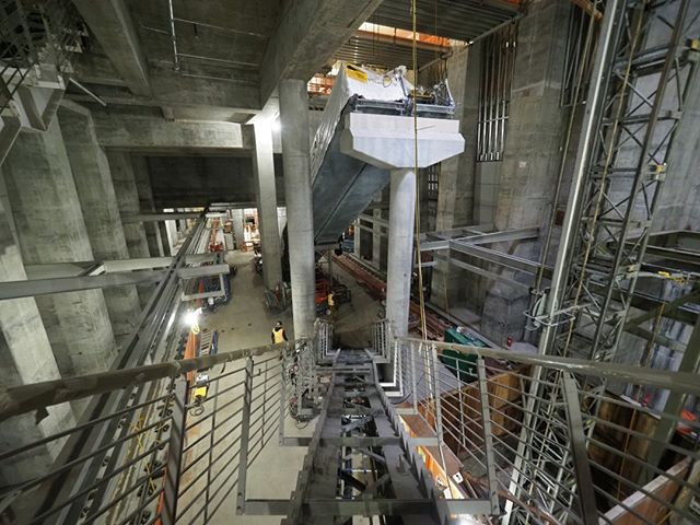 Inside the forthcoming Roosevelt Link light rail station: A view of the platform under construction