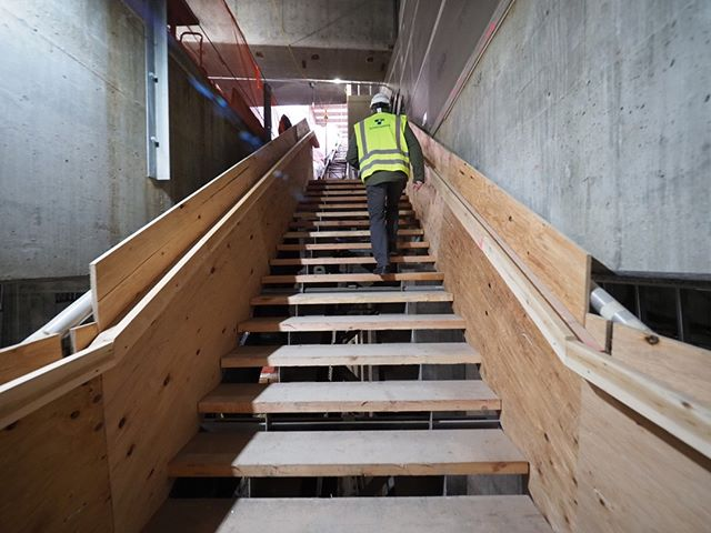 Inside the forthcoming Roosevelt Link light rail station: Prefer to take the stairs? This and other new Sound Transit light rail stations will have always accessible stairs that go all the way down to the platform