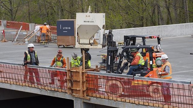 Contractors at work on the South Bellevue Station parking garage for Sound Transit
