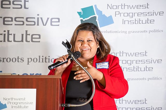 Scenes from NPI's 2019 Spring Gala: King County Democratic Chair Shasti Conrad offers remarks (Photo: Lincoln Potter/Samaya LLC for NPI)
