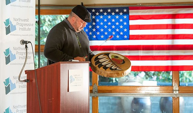 Scenes from NPI's 2019 Spring Gala: Willard Bill Jr. of the Muckleshoot Indian Tribe provides an introductory blessing