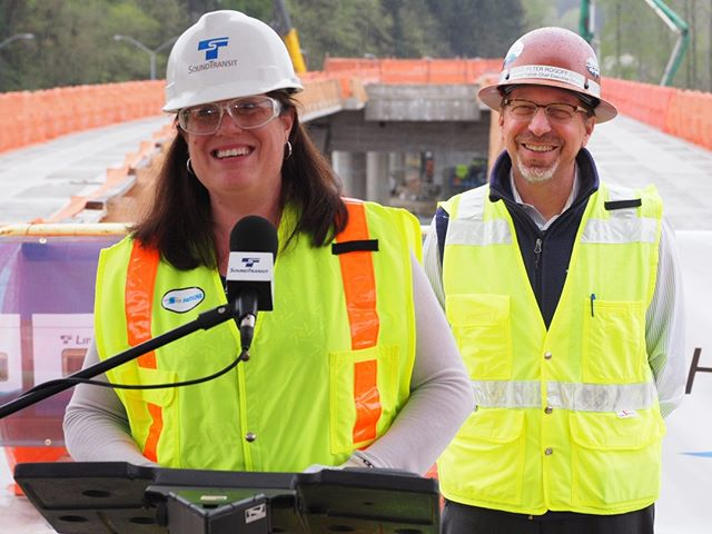 King County Councilmember Claudia Balducci congratulates Sound Transit and its contractors on reaching the East Link light rail fifty percent completion milestone