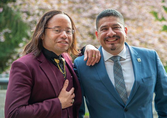 Scenes from NPI's 2019 Spring Gala: NPI boardmember Mario Brown with Burien Mayor Jimmy Matta (Photo: Lincoln Potter/Samaya LLC for NPI)
