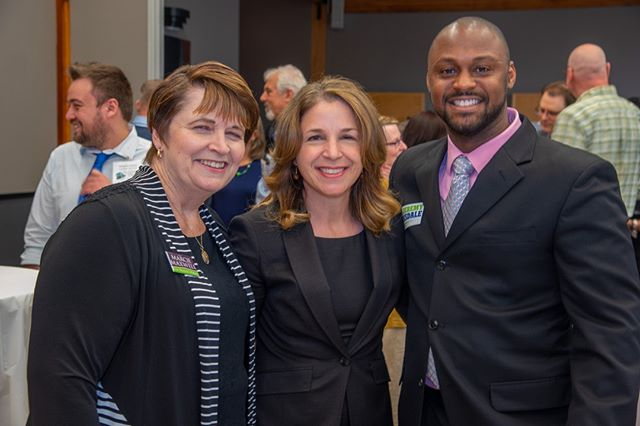 Scenes from NPI's 2019 Spring Gala: Renton Mayoral Candidate Marcie Maxwell and Bellevue City Council hopeful Jeremy Barksdale with Commissioner of Public Lands Hilary Franz