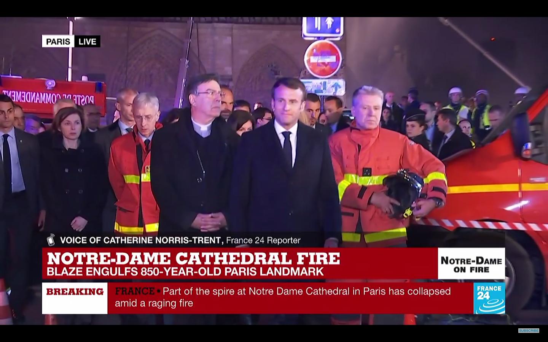 Emmanuel Macron about to speak about the Notre Dame blaze