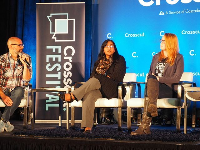 Crosscut Fest 2019 in Pictures: Atlas Obscura CEO David Plotz discuss socialism's role in American politics with Seattle City Councilmember Kshama Sawant and Sarah Smith (pictured), plus Washington State Democratic Party Chair Tina Podlodowski (not pictured)
