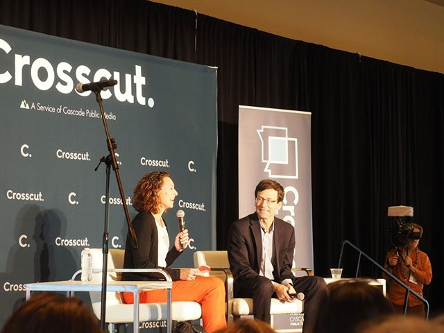 Crosscut Fest 2019 in Pictures: Author and journalist Emily Bazelon hosts a fireside chat with Attorney General Bob Ferguson