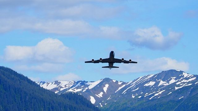 A KC-135R Stratotanker operated by the 168th Air Refueling Squadron of the Alaska Air National Guard takes off from Juneau International Airport