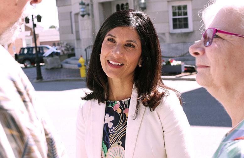 Maine Speaker Sara Gideon with voters