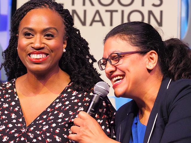 Representatives Ayanna Pressley and Rashida Tlaib emphasized the need to conintinue working towards the impeachment of Donald Trump #NN19