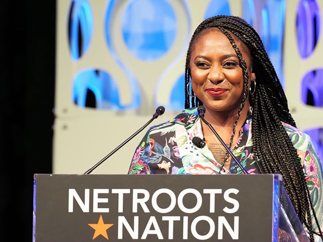 Black Lives Matter co-founder Alicia Garcia offers the keynote address at the Netroots Nation 2019 opening plenary session #NN19