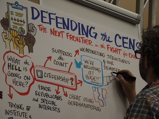 Artist and graphic recorder Matt Sullivan of Groundworks Studio illustrates the highlights of Defending the Census, a featured panel at Netroots Nation 2019 #NN19