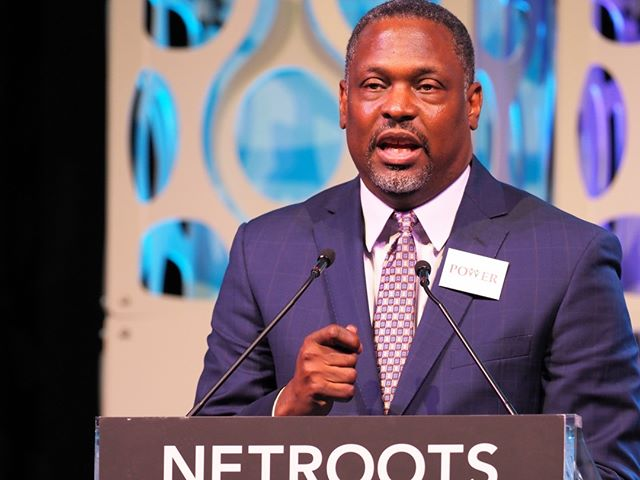 The Reverend Gregory Holston makes an impassioned pitch for taking action at Netroots Nation 2019 #NN19