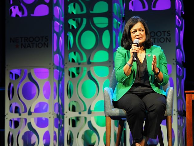 Northwest pride: That's *our* U.S. Representative Pramila Jayapal, discussing the strategy to increase the Progressive Caucus' clout in Congress #NN19
