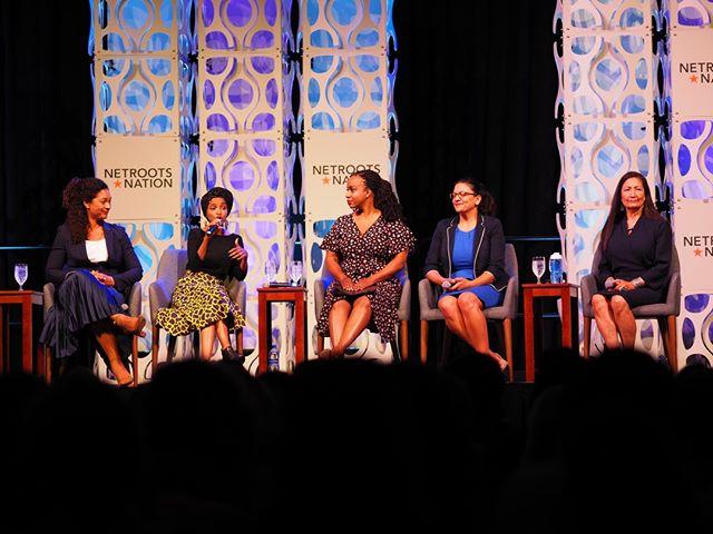 Five extraordinary women leaders take the stage at Netroots Nation 2019: Aimee Allison, Ilhan Omar, Ayanna Pressley, Rashida Tlaib, Deb Haaland #NN19