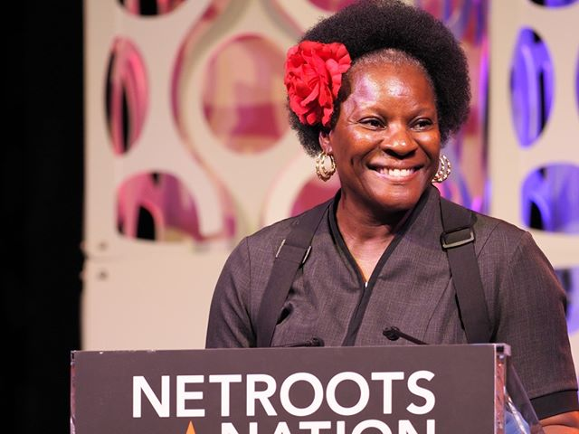 Marriott hotel worker Kat Payne thanks Netroots Nation for standing with the true profit creators of the hospitality industry (the workers!) during the opening plenary of Netroots Nation 2019 #NN19
