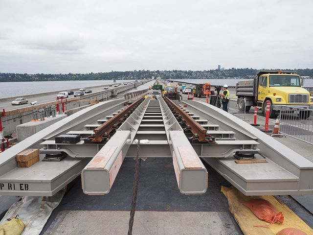 East Link on track: This is one of the inventive track bridges that will be used to allow trains to safely traverse the I-90 floating bridge