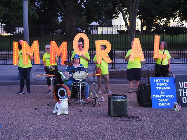 """Immoral"": Protesters against Donald Trump decry his destructive policies and toxic politics in front of The White House"
