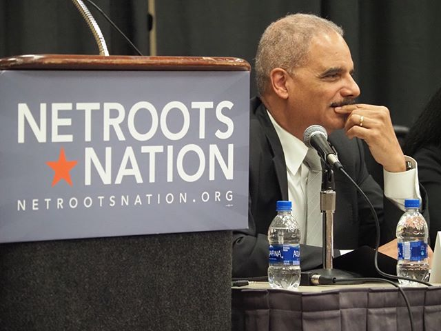 Former Attorney General Eric Holder listens to an audience question at Defending the Census, a featured #NN19 panel organized by Chair Emeritus Adam Bonin