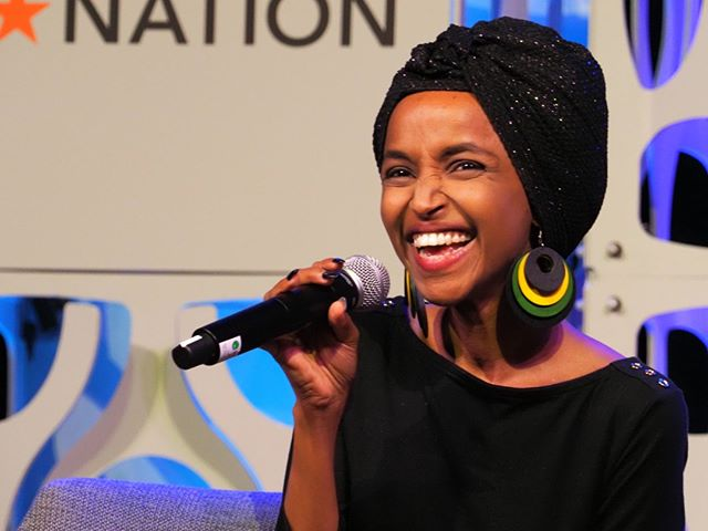 Representative Ilhan Omar participates in a plenary panel discussion at Netroots Nation 2019 #NN19