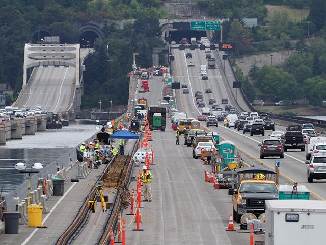 East Link on track: A view of the work being done to prepare the Homer M. Hadley Memorial Bridge for high capacity transit service