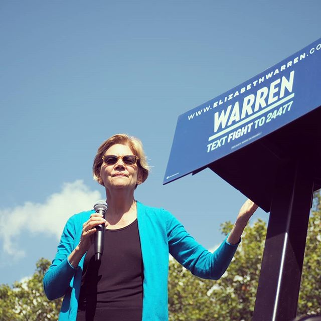 Senator Elizabeth Warren at today's campaign event in Seattle.